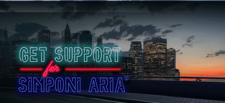 city skyline at night with glowing text reading get support for Simponi Aria